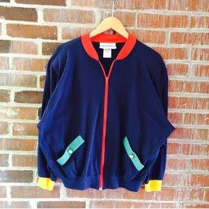 Vintage 80s Color Block Lightweight Jacket