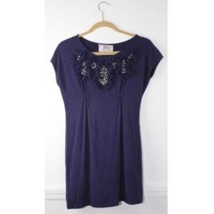 Yoana Karachi Anthropologie Purple Beaded Blouse