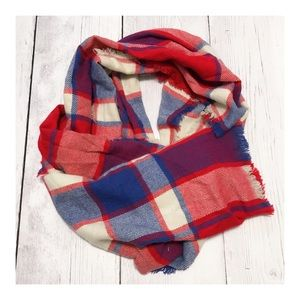 Merona Red, Ivory and Blue Plaid Flannel Scarf