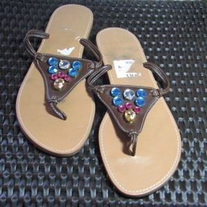Shoes - Leather Jeweled Brown Sandals