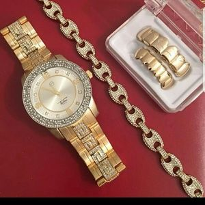 ,14K GOLD PLATED ICED OUT WATCH BRACELET GRILLZ
