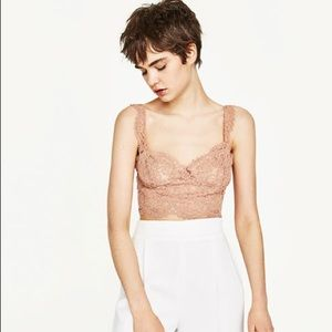 Zara nude pink lace top!