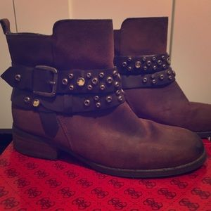 Guess Gemstone Studded Suede Boots