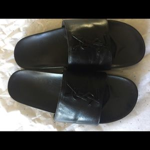 Saint Lauren YSL Brooch Slides Sandals Size 38 1/2