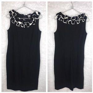 Cache Black White Sleeveless Sheath Dress.