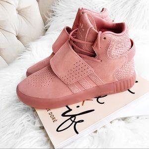 Adidas tubular blush pink sneakers