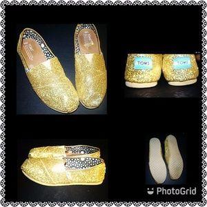 Toms, W 9.5, gold glitter classics