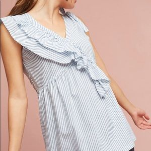 Anthro Striped Sleeveless Ruffle Frill Top