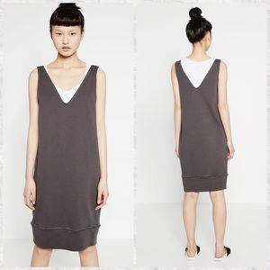 Zara Trafaluc V-Neck Cotton Sweatshirt Dress