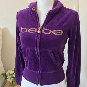 Bebe Velour Zip Sweater