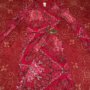 beautiful red printed dress