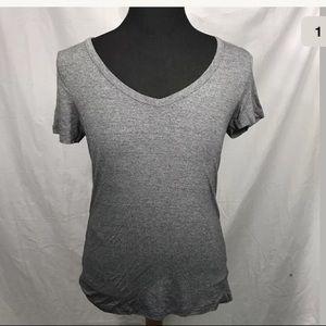 Merona Charcoal Gray Stretch V-Neck Knit Shirt M