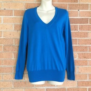 J Crew Blue V Neck Sweater Size Small