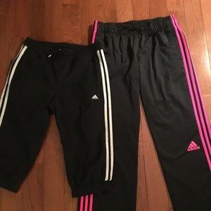 2 Pair ADIDAS 3 Stripe Athletic Pants Medium