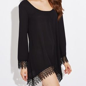Tops - Dress/Tunic with Lace Trimmed Sleeves & Hem