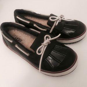 UGG Girls Blue Metalic Sparkly Deck Shoes 13