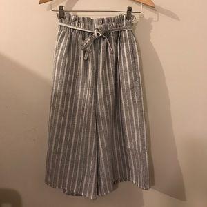 Grey & White Striped Culottes