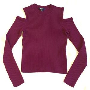 Purple Ribbed Open-Shoulder Sweater