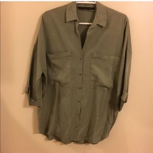 Zara Olive Loose Fitting Blouse