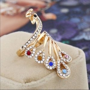 Austrian Crystals 18K Gold Filled Peacock Ring