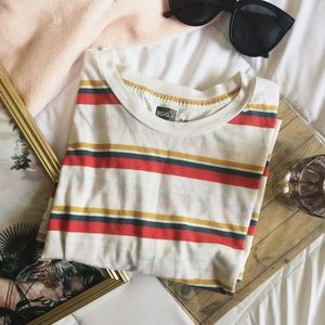 [BDG] URBAN OUTFITTERS Gold green red Stripe tee