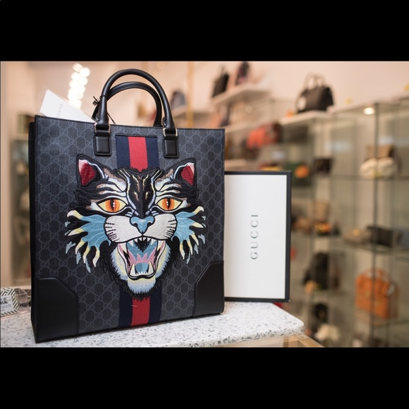 013ff7300 Gucci Bags | Supreme Tote With Embroidered Angry Cat | Poshmark