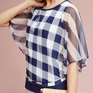 Anthro Plaid Gingham Cape Overlay Striped Top