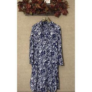 Zara Woman Shirt Dress Large Blue White Large