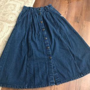Cherokee long dark blue Jean skirt size 10