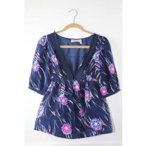 Yumi Kim Anthropologie Silk Floral Blouse