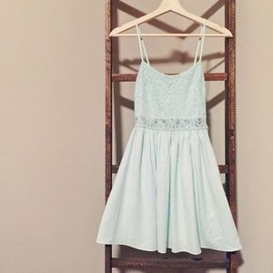Mint blue Lace fit and flare dress