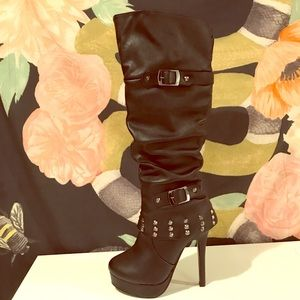 Over the knee studded faux leather boots