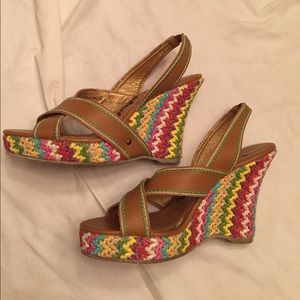 Multicolored espadrille wedges by naughty monkey