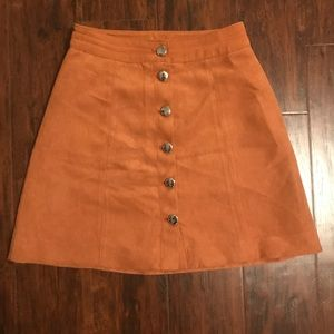 H&M Divided Button Down Suede Skirt, Camel Color.