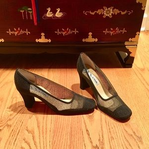 NINA New Black Beaded Cloth Heels