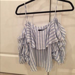 Zara xs top Blouse white blue stripe off shoulder