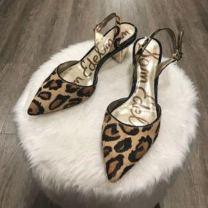 Sam Edelman Dyed Calf Fur Carol Leopard Heels 6.5