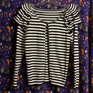 Striped Sweater Cardigan Shoulder Flounce Ruffle