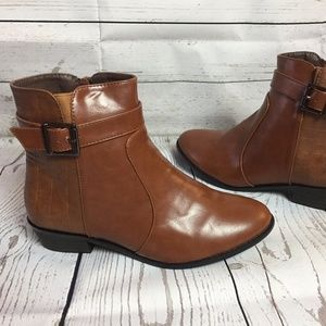 Shoes - Brown Ankle Boots Snake Print Buckle Booties NEW