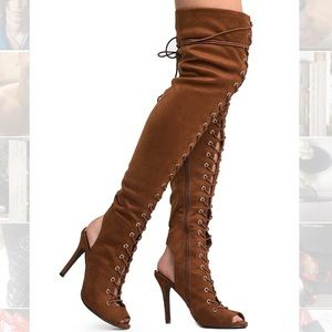 Lace-Up Faux Vegan Suede Tan Over Knee Boots 5.5
