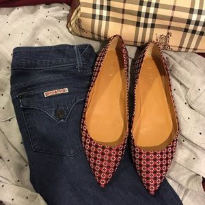 J.Crew Amelia Medallion Red-Charcoal Flats