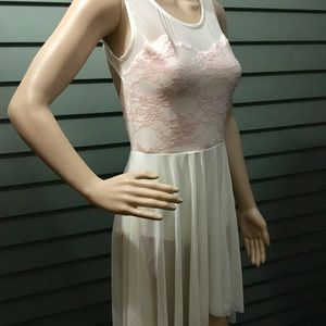 Other - Pink Lace Leotard with sheer Attached skirt.