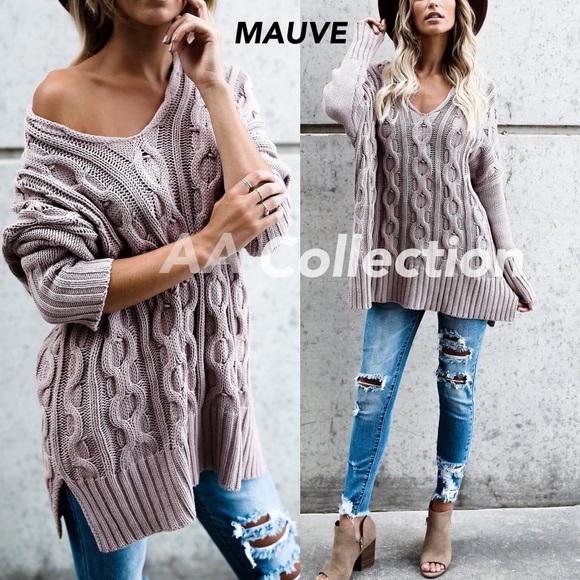 Sweaters - oversized loose fit sweater Dark Olive,Cream,Mauve