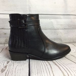Shoes - Black Ankle Boots Snake Skin Buckle Booties NEW