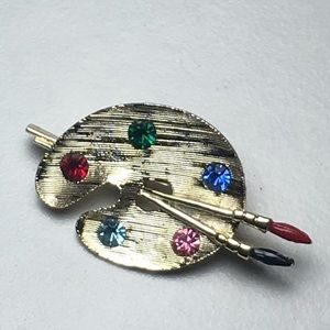 Jewelry - Vintage Artist Palette Red Green Gold Tone Pin