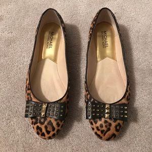 MICHAEL Michael Kors leopard flats w/studded bow