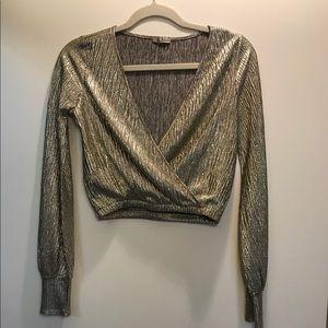 Zara Crop Gold Blouse