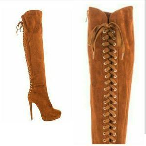 Cognac |Thigh High Boots|