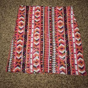 Boohoo multi colored sequin mini skirt