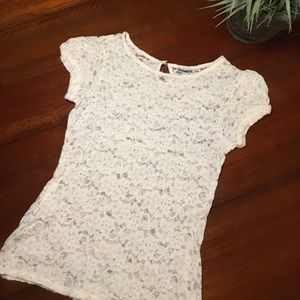 Express Ivory Lace Short Sleeve Top Size Small